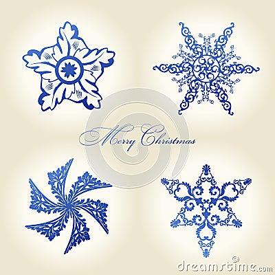 Christmas snowflakes  vintage decor blue