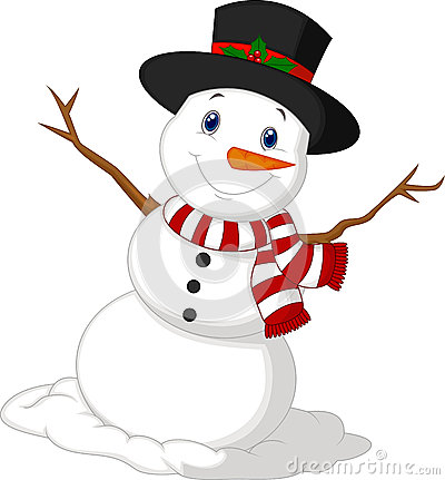 Free Christmas Snowman Cartoon Wearing A Hat And Red Scarf Stock Photos - 39807063