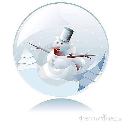 Free Christmas Snowman Crystal Ball Royalty Free Stock Photo - 3490305