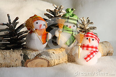 Christmas Snowman Family - Stock Photo