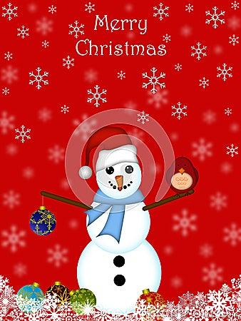 Christmas Snowman Hanging Ornament Cardinal Bird
