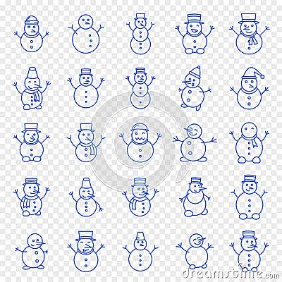 Free Christmas Snowman Icon Set Stock Photography - 130202592