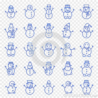 Christmas Snowman Icon set Vector Illustration