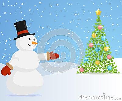 Christmas snowman inviting to the christmas tree.