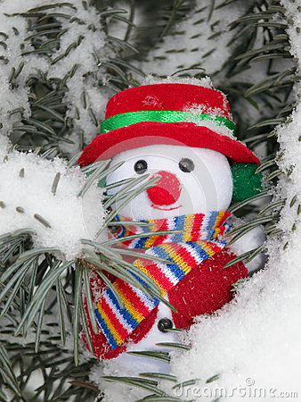 Free Christmas Snowman On Pine Tree - Stock Photos Stock Photography - 35926872