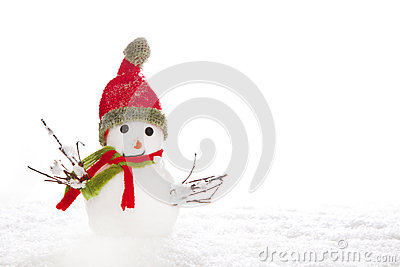 Christmas: snowman with red scarf and hat on white background