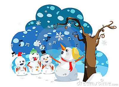 Christmas snowman sing a song