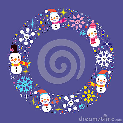 Free Christmas Snowman & Snowflakes Winter Holiday Circle Frame Border Background Royalty Free Stock Photography - 44342147