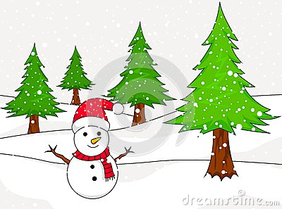 Christmas Snowman with spruce