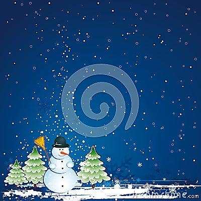 Christmas with snowman, vector
