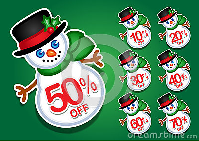 Christmas Snowman vector discount stickers / seals