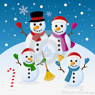 Free Christmas Snowmen Family Stock Images - 35308824