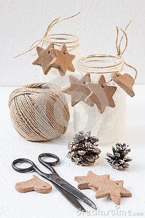 Free Christmas Snowy Mason Jars With Cinnamon Star And Heart Cookies Stock Images - 47530404
