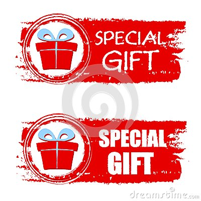 Free Christmas Special Gift And Present Box On Red Drawn Banner Royalty Free Stock Photo - 35550595