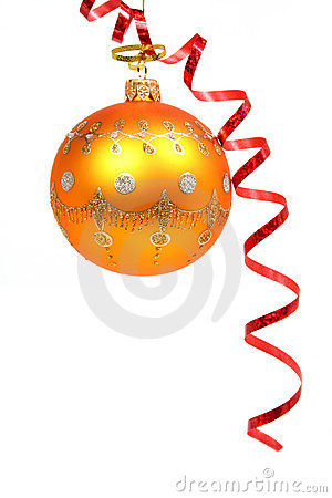 Free Christmas Sphere Of Orange Color And Red Streamer 2 Royalty Free Stock Images - 1767039