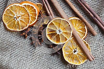 Christmas spices on burlap