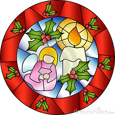 Free Christmas Stained Glass Decoration Royalty Free Stock Images - 14185349
