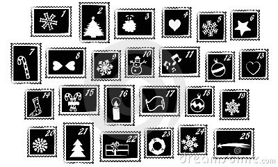 Christmas stamps vector - advent calendar