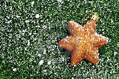 Christmas star on the grass with snow