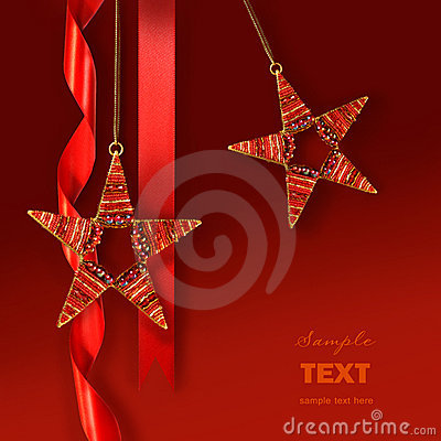 Free Christmas Star Ornaments Against Red Background Stock Photos - 7085613