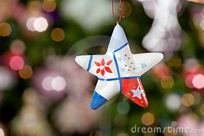 Christmas star with tree on background