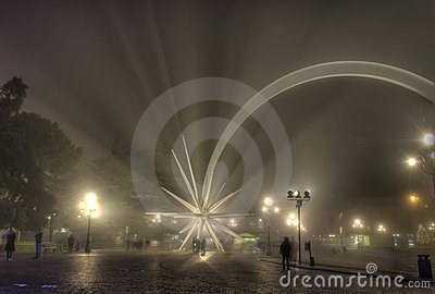 Christmas star in Verona, Italy, and fog at night