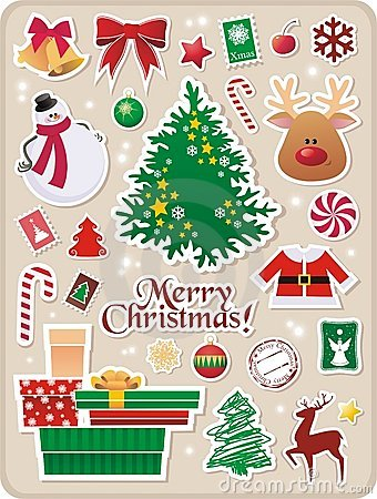 Free Christmas Stickers Royalty Free Stock Image - 11832856