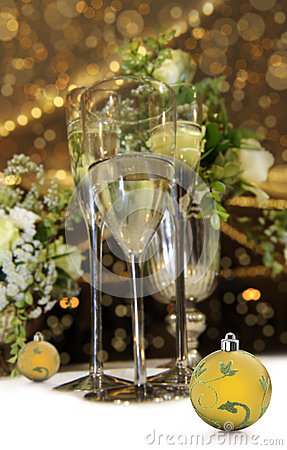 Christmas still life with champagne glasses