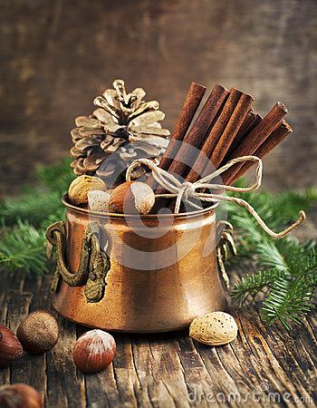 Free Christmas Still Life: Cinnamon, Nuts And Fir Branches Royalty Free Stock Photos - 46980158