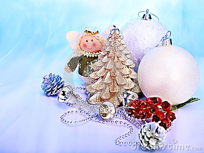 Christmas still life with tree, ball.