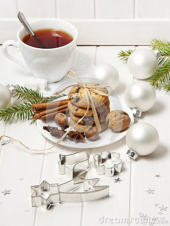 Free Christmas Still Life With Biscuits And A Tea Stock Images - 26848334
