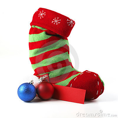 Christmas Stocking With Card And Balls