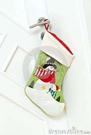 Christmas stocking on door