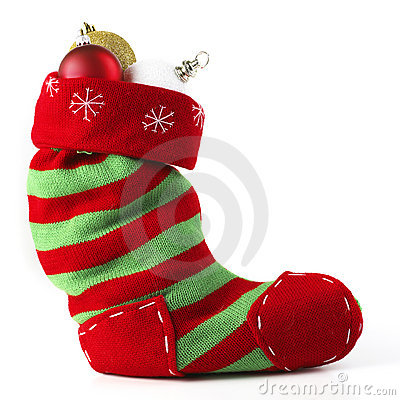 Christmas Stocking Front View With Balls