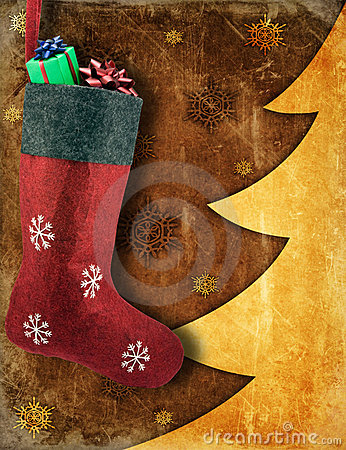 Christmas stocking with gifts