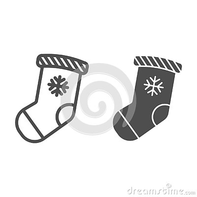 Christmas stocking line and glyph icon. Stuffer sock vector illustration isolated on white. Christmas gift outline style Vector Illustration