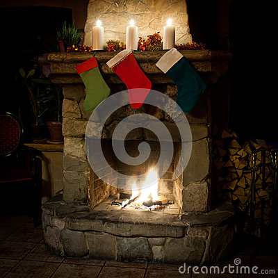 Free Christmas Stocking On Fireplace Background. Romantic, Holidays Interior Royalty Free Stock Image - 60594216