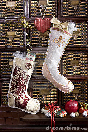 Free Christmas Stocking With Golden Gift Stock Images - 10717454