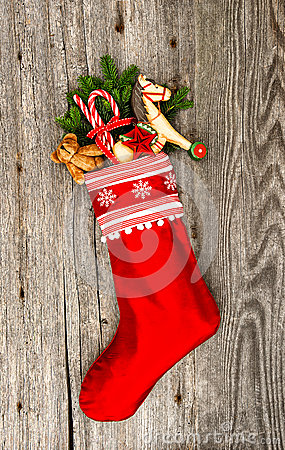 Free Christmas Stocking With Nostalgic Vintage Toy Decoration Stock Photography - 39348812