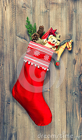 Free Christmas Stocking With Nostalgic Vintage Toys Decoration Royalty Free Stock Photos - 45758818