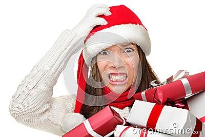 Christmas stress - busy santa woman