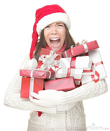 Free Christmas Stress Shopping Woman Stock Images - 16157344