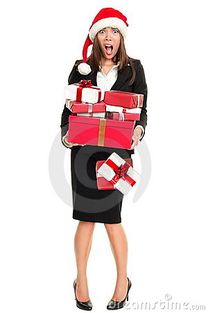 Christmas stress woman shopping gifts