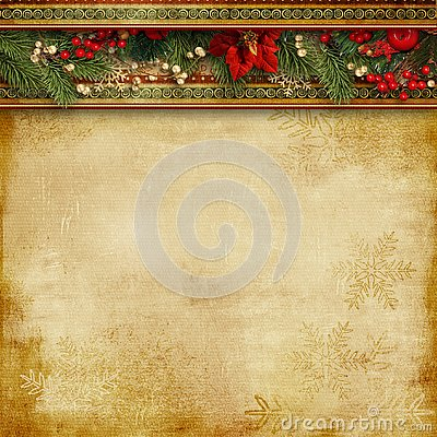 Free Christmas Superb Background With Holly, Poinsettia And Firtree Stock Photos - 132974753