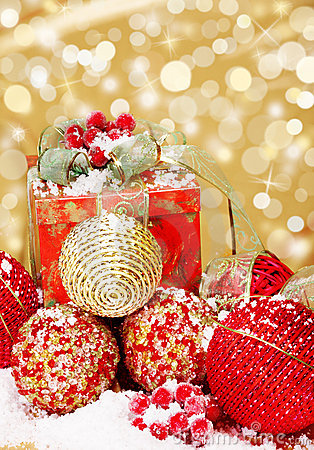 Christmas supplies on glittering background