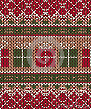 Christmas Sweater Design. Seamless Knitting Pattern. Winter Holi
