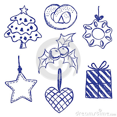 Christmas symbols doodles set
