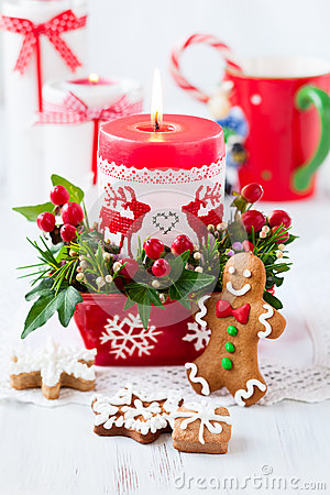 Free Christmas Table Decorated With Candle Stock Image - 43839501