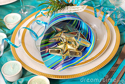 Christmas table decoration in turquoise  colors
