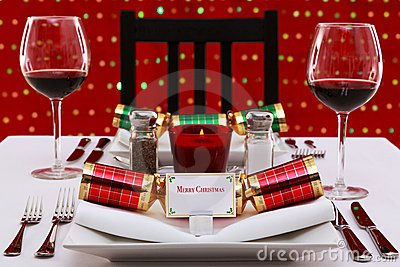Christmas table place setting horizontal